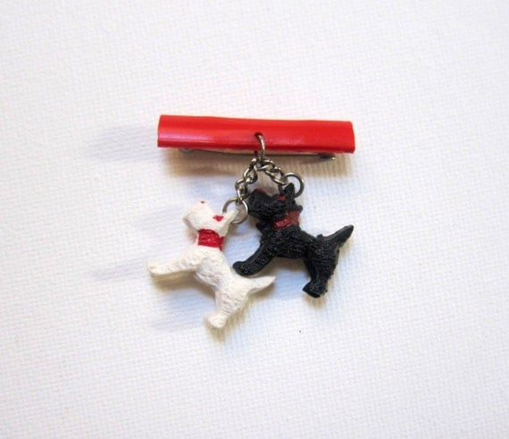 Antique Vintage 1950s red black and white scotty dog plastic pin