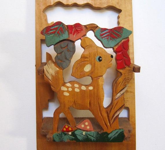 Vintage mid century wooden child folk art fawn letter holder