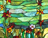 "Verdant Garden Stained Glass Window Panel Vintage 19.5"" x 25.5""  Green Red Brown flowers"