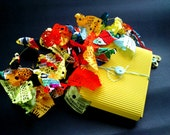 "Fabric necklace in vivid colors - From ""Butterflies in my garden"" series"