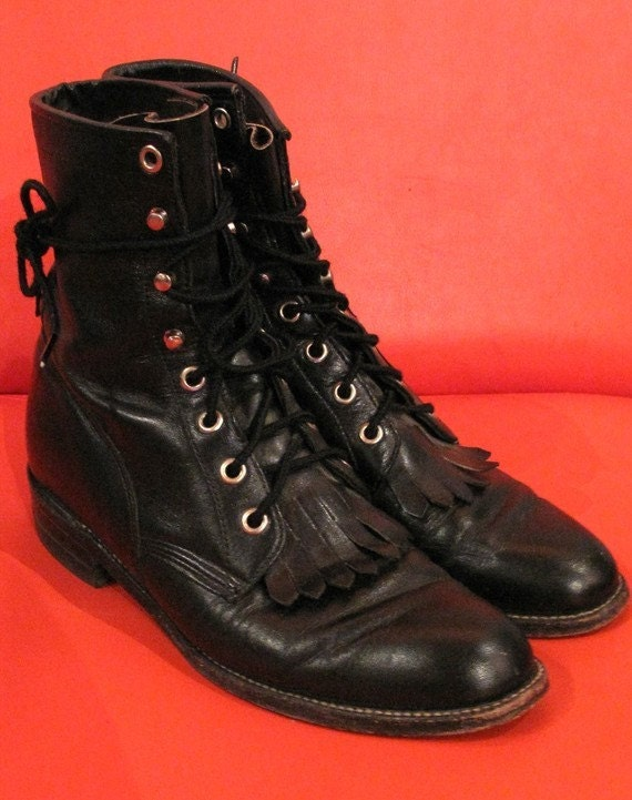 Soft Leather Vintage 70s Justin roper boots size 8 women