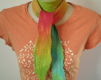 Nuno felted Skinny scarf- Somewhere over the Rainbow