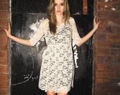Cream floral lace dress 60s long sleeve S/S mini dress fall XS,S,M