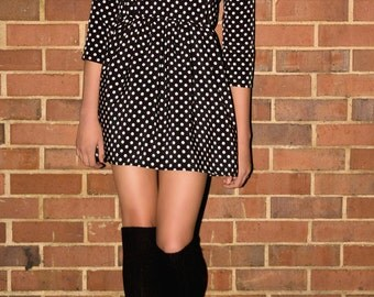 Polka dot peter pan collar 60s long sleeve A/W mini dress fall  S-M