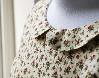 Floral peter pan collar cotton dress