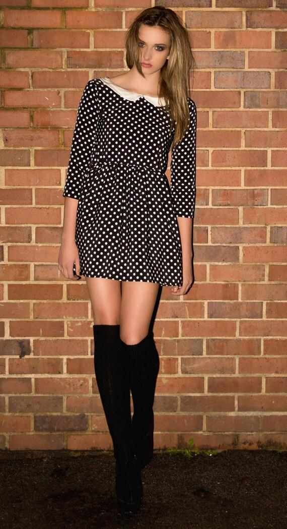 Polka dot peter pan collar 60s long sleeve  mini dress