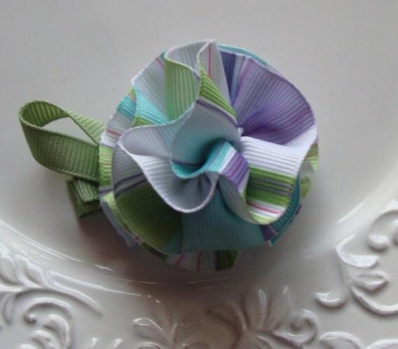 Flower Hair Clip- Aqua/ Lavender Stripe Ribbon Carnation Hair Clip