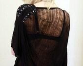 Shredded Shirt/Dress Sequined Schwarz