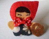 Felt Brooch Little Red Riding Hood pin