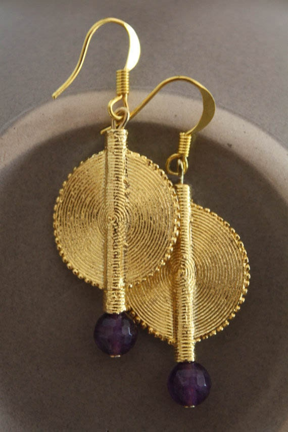 Aflé Bijoux African Earrings: Dark Amethyst Earrings