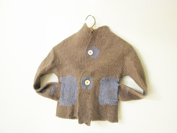 Stylish children jacket with pockets hand made felted of softest wool