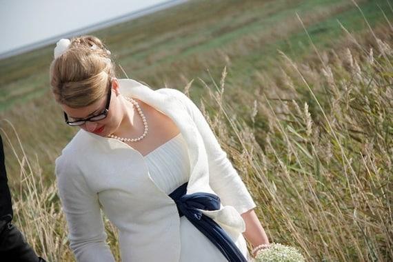 Wedding bolero white ivory / Cottage Chic Weddings / softest wool