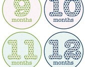 Diagonal Stripes & Polka Dots - Monthly Onesie Stickers - Choose your colors