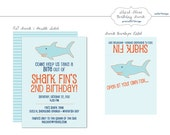 Shark Theme Birthday Party Invite & Address Label