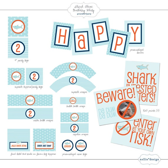 DIY Printable Shark Theme Birthday Party Package