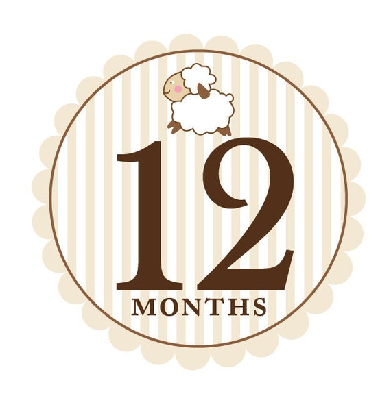 Baby Month to Month Stickers - Little Lamb - Gender Neutral