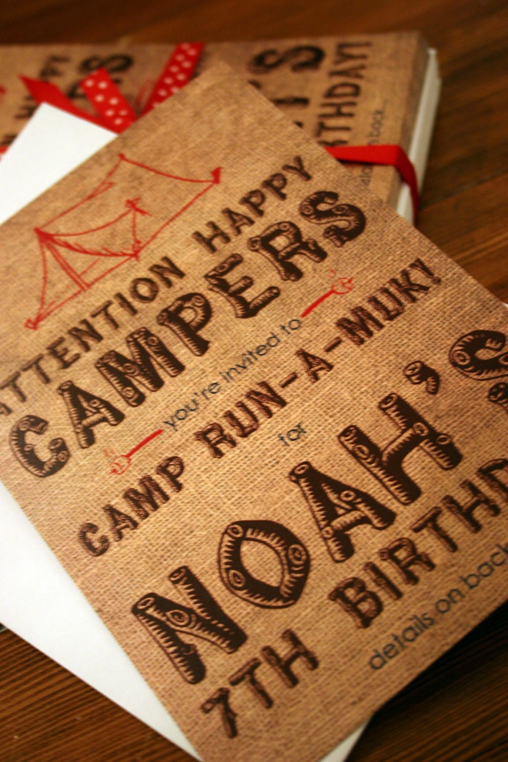 camping party invitation 5x7 printable design
