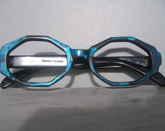 French Sunglass Frames Never Worn, Vintage Blue Green Eyeglass Frames