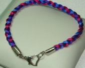 Custom Silk Cord Braided Anklet, Bisexual Bi Pride Jewelry