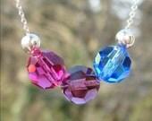 Sterling Silver .925 Swarovski Crystal Bi Pride Jewelry Bisexual Bead Necklace