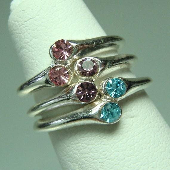 rhinestone stackable toe rings bi pride