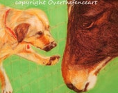 Animal Art Dog and Horse Fine Art Print Greeting Card