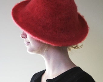 Felted Brimmed Red Hat for Red Hat Society Women