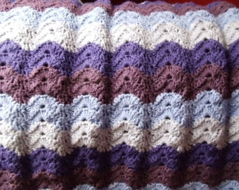 Purple Waves Baby Blanket