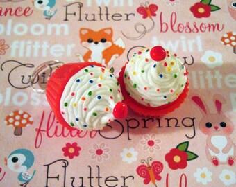 Red Velvet Cupcake Rainbow Sprinkles Lipgloss Rings