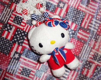 British Hello Kitty from London with Scarf Plush Beaded Necklace