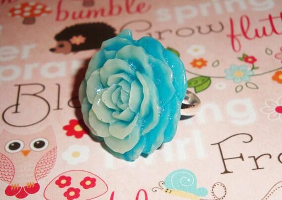 Big Beautiful Milky Teal Blue Rose Ring