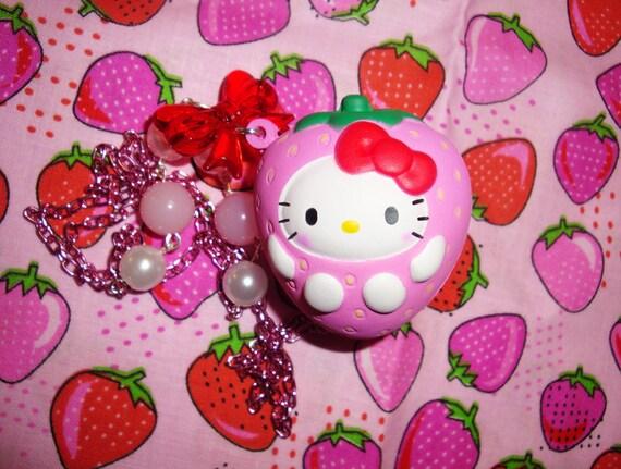 Hello Kitty Sweet Squooshy Strawberry Beaded Necklace