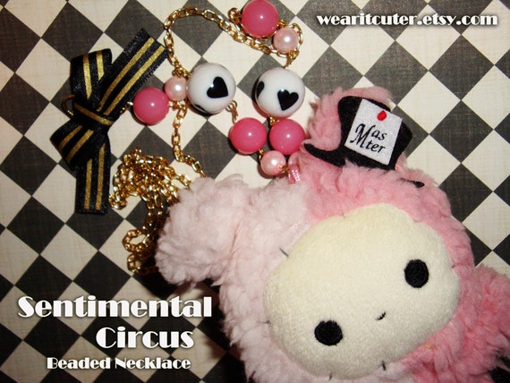 RESERVED for GingerGM - Sentimental Circus Bunny Plush Ring Master with Top Hat Beaded Necklace