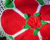 Vintage Crocheted Doily, Old Fashioned 1960s Christmas Rose, Large DOILY