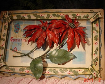 Vintage Christmas Metal Wall Art Raised Poinsetta Picture