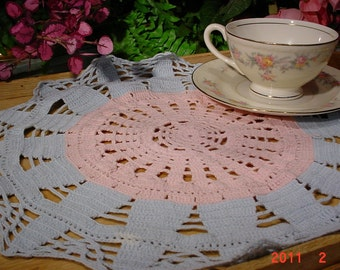 Vintage 1970s CROCHETED Doily Shabby Chic Table