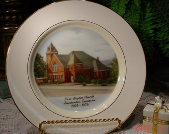 Vintage CHURCH Commemorative Plate,  1976 Collectible Plate,  Vintage Home Decor,  Shabby Chic