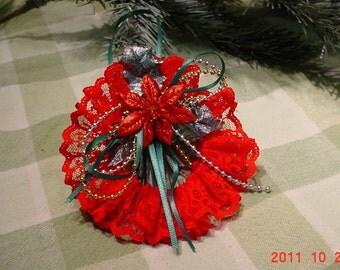 Lace Christmas Tree Ornaments Set of 4 Vintage Handmade