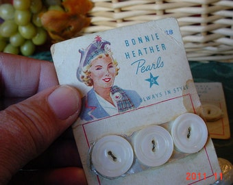 Vintage UNUSED Pearl BUTTONS 1950s Button Lot