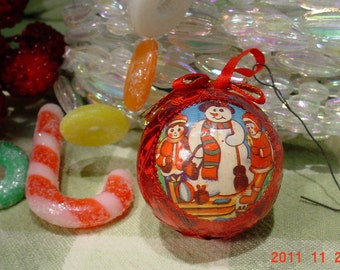 Vintage Foil Snowman Christmas Red Ornament