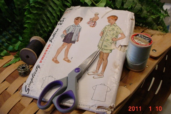 Vintage Simplicity Pattern BOYS Shirt and Swim Shorts