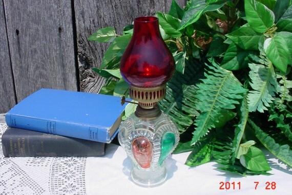 Small 1950 Kerosene Lamp Red and Green Emergency Lighting