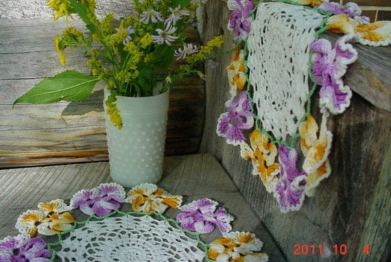 2 Crocheted Vintage DOILIES Old Fashioned Made by Hand
