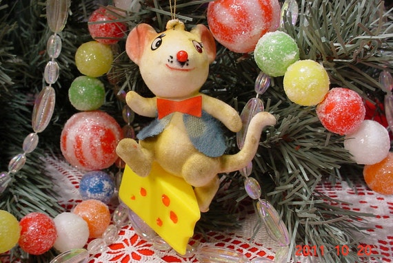 Vintage Mouse Christmas Tree Ornament 1960s Holiday Decorations
