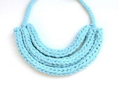 Bib Necklace Triple Braided T Shirt Yarn Fabric - Turquoise