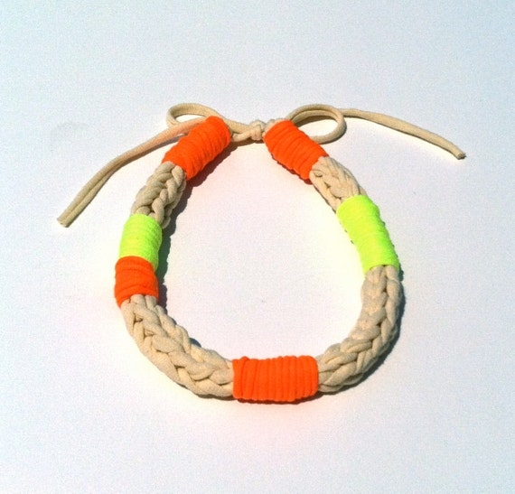 SALE Neon Necklace Braided ROPE Fabric - Orange/Yellow