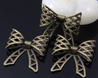 6pcs Brass Filigree Bow Charm