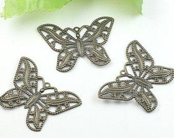 10pcs Brass Filigree Butterfly Charm
