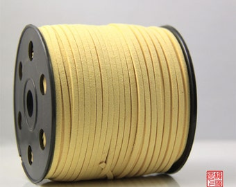 5M Light Yellow Micro Fiber Suede Leather Cord