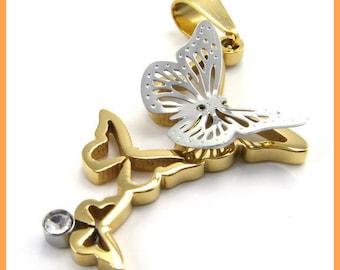 Triple Butterfly Stainless Steel Pendant